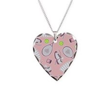 Tennis Girl Pattern Pink Background Necklace