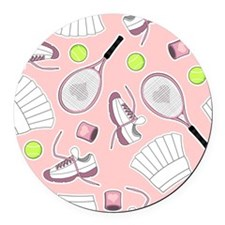 Tennis Girl Pattern Pink Background Round Car Magn