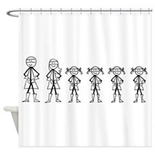 Super Family 4 Girls Shower Curtain