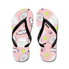 Tennis Girl Pattern Pink Background Flip Flops