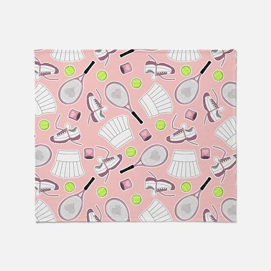 Tennis Girl Pattern Pink Background Throw Blanket