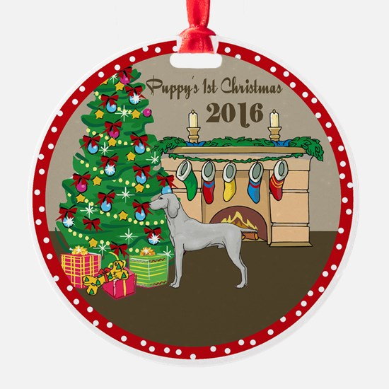 2016 Weimaraner 1St Christmas Ornament