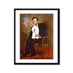 Lincoln & his Bichon Framed Panel Print