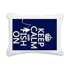 Keep Calm and Fish On Rectangular Canvas Pillow