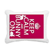 Keep Calm and Bunny On Rectangular Canvas Pillow