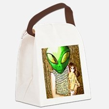 Alien Child with Doll Canvas Lunch Bag