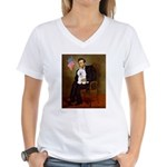 Lincoln & his Bichon Women's V-Neck T-Shirt