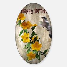 Hummingbird Birthday Greeting Sticker (Oval)