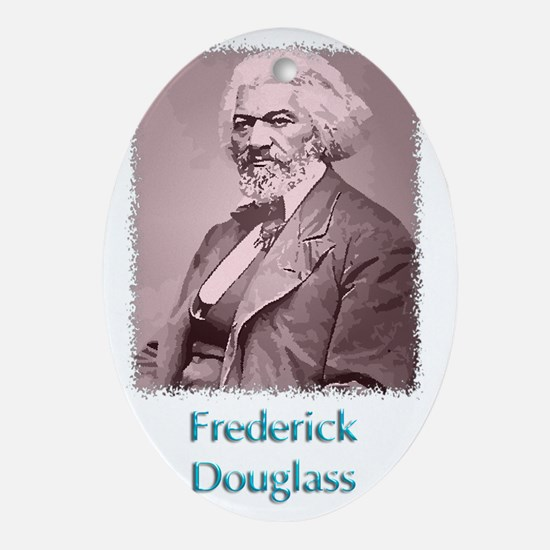Frederick Douglass w text Oval Ornament