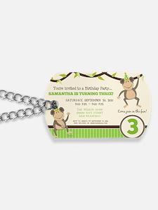 10-monkey-invite_green Dog Tags
