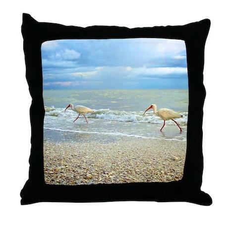 Sanibel Ibis Birds Strut Their stuff Throw Pillow