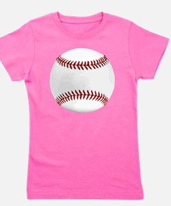 White Round Baseball Red Stitching Girl's Tee