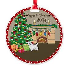 2014 Westie 1St Christmas Round Ornament