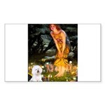 Fairies & Bichon Sticker (Rectangle)