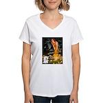Fairies & Bichon Women's V-Neck T-Shirt