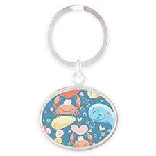 Cute Sea Life Oval Keychain