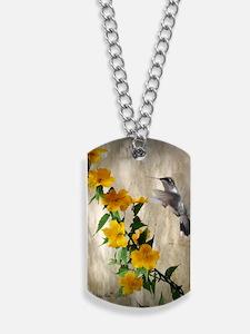 Hummingbird  flowers Dog Tags