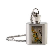 Hummingbird  flowers Flask Necklace