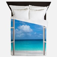 Tropical Beach View Through Window Queen Duvet