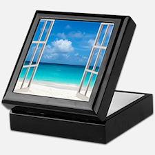 Tropical Beach View Through Window Keepsake Box