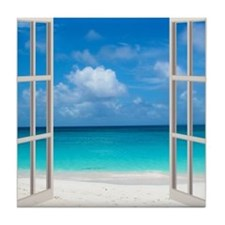 Tropical Beach View Through Window Tile Coaster