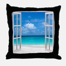 Tropical Beach View Through Window Throw Pillow