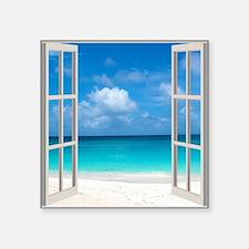 """Tropical Beach View Through Square Sticker 3"""" x 3"""""""