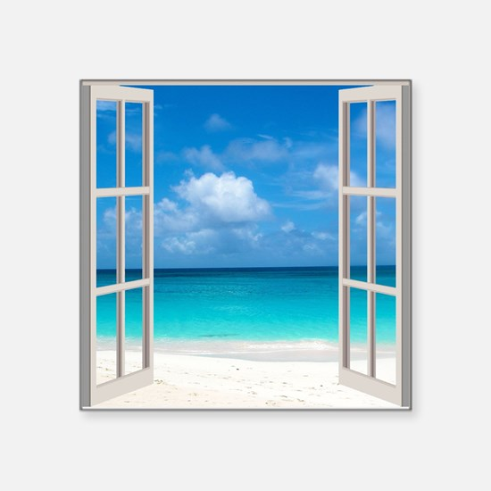 "Tropical Beach View Through Square Sticker 3"" x 3"""