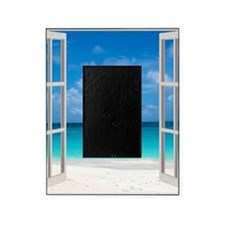 Tropical Beach View Through Window Picture Frame