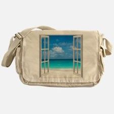 Tropical Beach View Through Window Messenger Bag