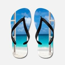 Tropical Beach View Through Window Flip Flops