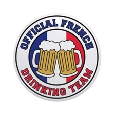 Official French Drinking Team Round Ornament