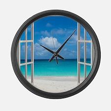 Tropical Beach View Through Windo Large Wall Clock