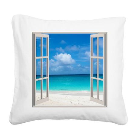 Tropical Beach View Through W Square Canvas Pillow