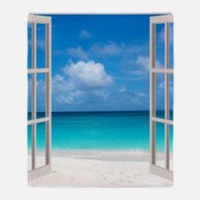 Tropical Beach View Through Window Throw Blanket