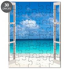 Tropical Beach View Through Window Puzzle