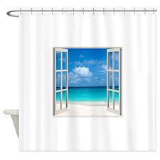 Tropical Beach View Through Window Shower Curtain