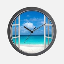 Tropical Beach View Through Window Wall Clock
