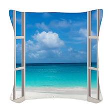 Tropical Beach View Through Wi Woven Throw Pillow