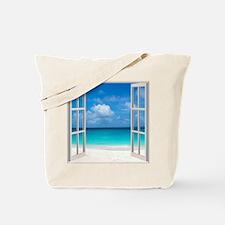 Tropical Beach View Through Window Tote Bag
