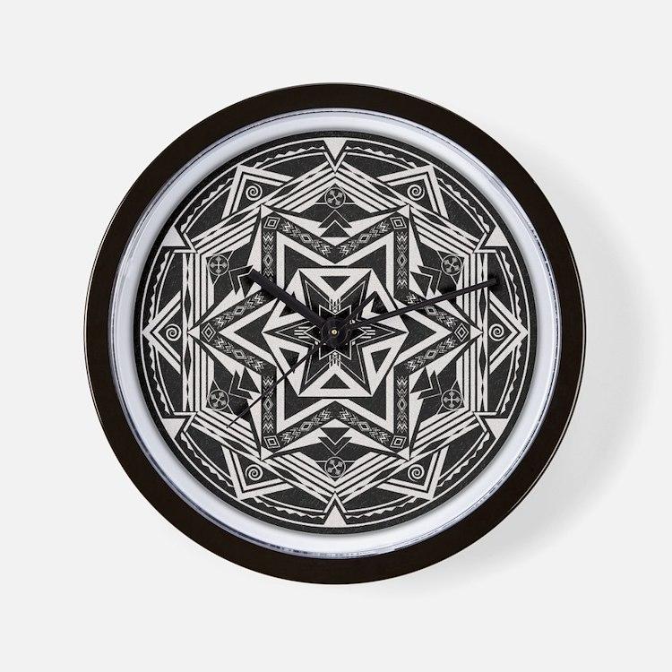 Between Worlds Mandala Wall Clock