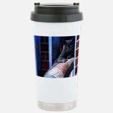 Grey Cat On Rug Travel Mug