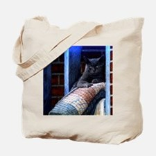 Grey Cat On Rug Tote Bag