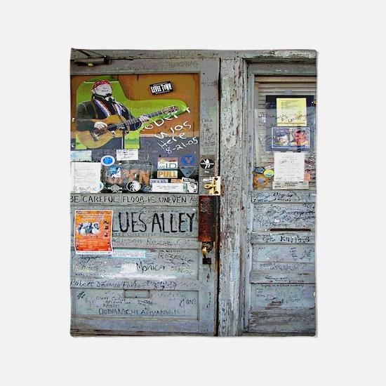 Ground Zero Blues Club Old Doors Gra Throw Blanket