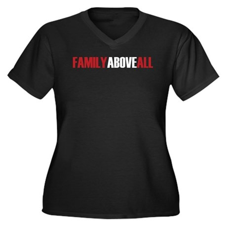 Family Above All Women's Plus Size V-Neck Dark T-S