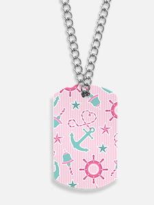 Cute Girly Nautical Print Pink Stripe Dog Tags