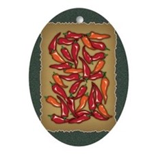 Red Chilli Peppers Oval Ornament
