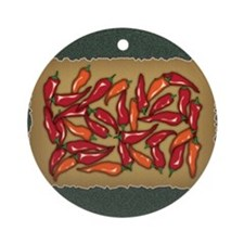 Red Chilli Peppers Round Ornament