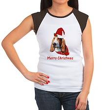 Basset Hound Christmas Women's Cap Sleeve T-Shirt