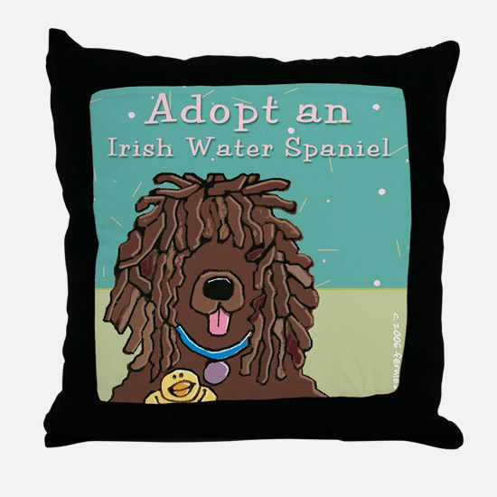 Adopt an Irish Water Spaniel Throw Pillow